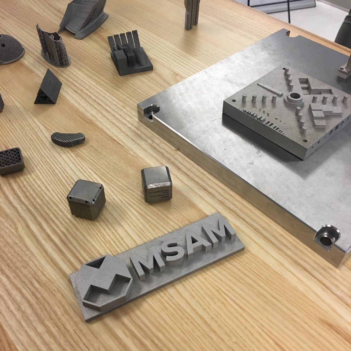Metal 3D printed parts at the MSAM. Photo via Reza Moridi.