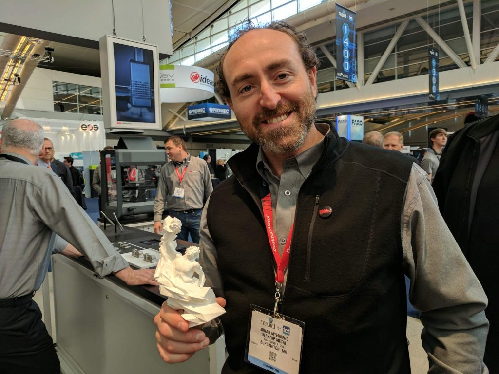 Desktop Metal CTO Jonah Myerberg with the 3D Printing Industry Award. Photo by Michael Petch.