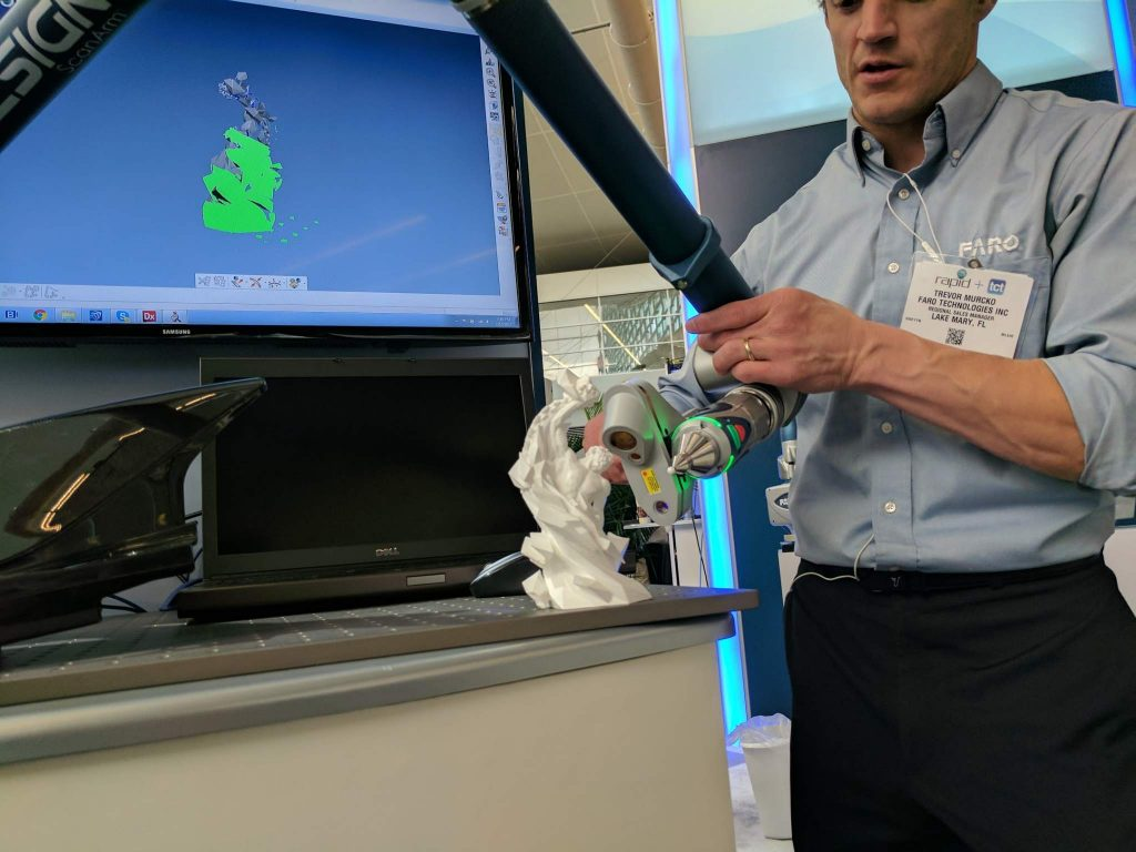 Faro 3D scanning the 3D Printing Industry Award. Photo by Michael Petch.
