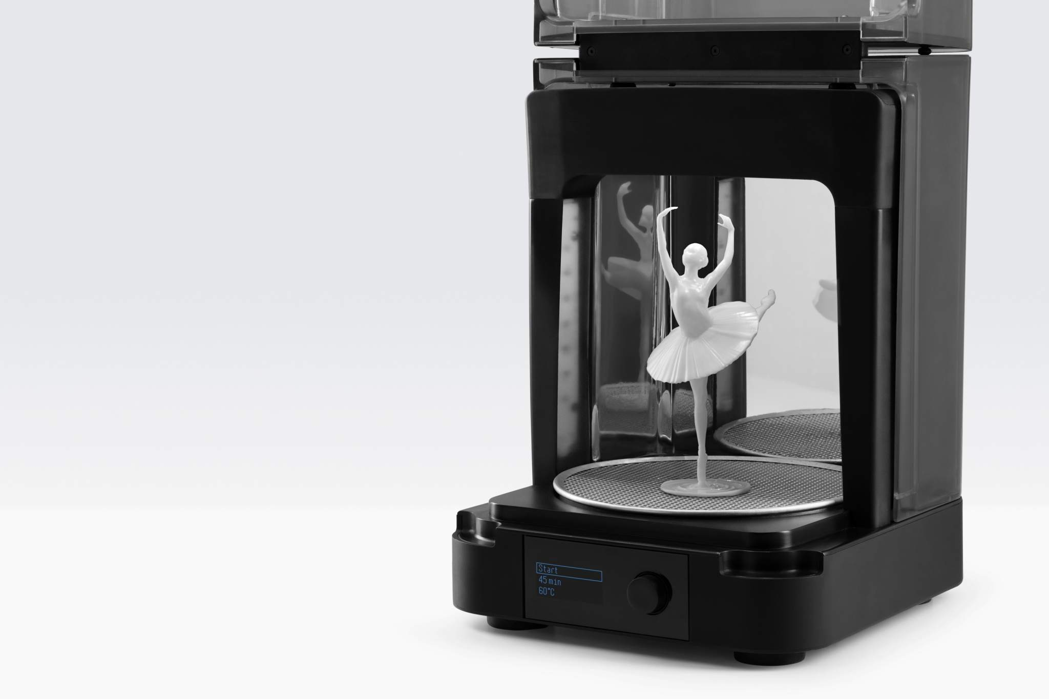 The Form Cure upon curing the 3D printed Ballerina. Image via Formlabs.