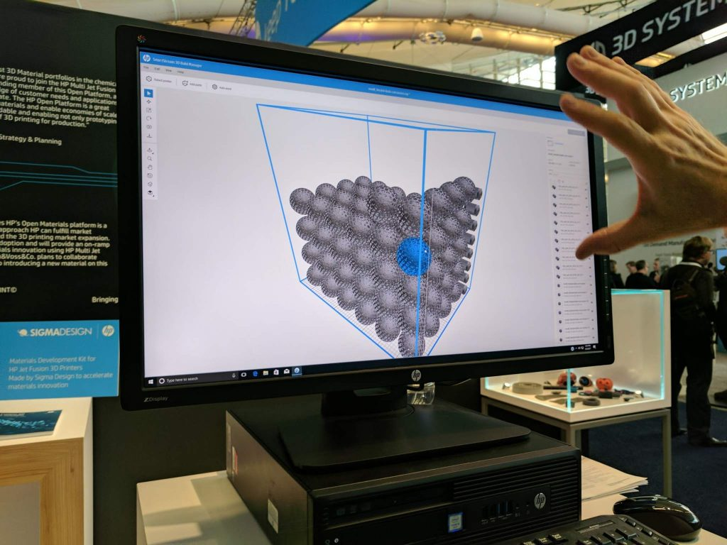 HP demonstrates the 3D build manager at RAPID 2017. Photo by Michael Petch.