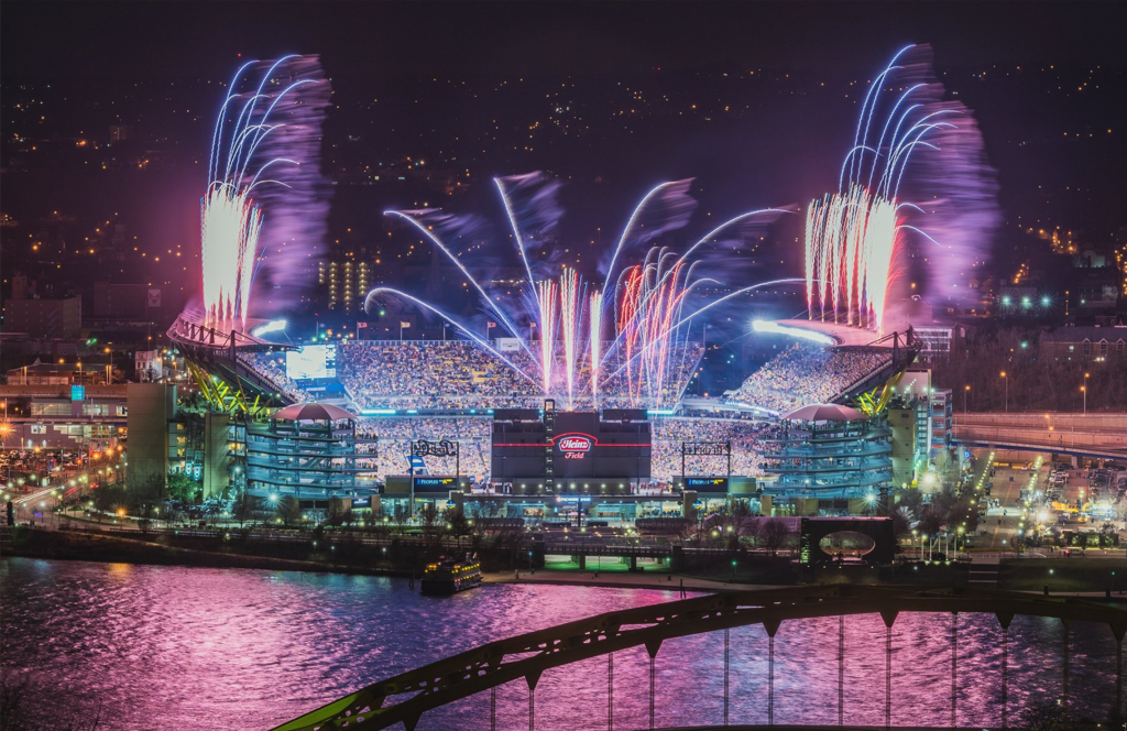 Fireworks light up the sky over Heinz Field photo by Dave DiCello‏ @DaveDiCello on Twitter
