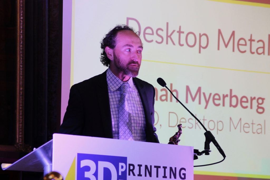 Desktop Metal CTO & Co-founder Jonah Myerberg accepts the award for 3D Printing Start-up of the year. Photo by Antoine Fargette for 3D Printing Industry.