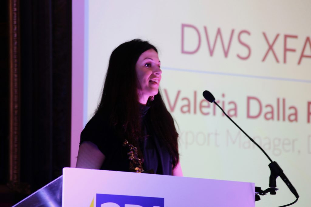 Ilaria Storato, Communication Manager at DWS, accepting the award for Personal 3D printer of the year (other). Photo by Antoine Fargette for 3D Printing Industry.