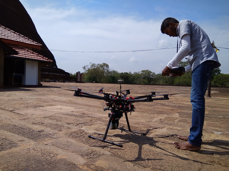 The LIDAR scanner attached to a drone to scan large areas. Photo via RCS2 Technologies.