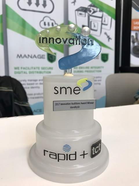 The SME RAPID+TCT 2017 Innovation Award trophy.