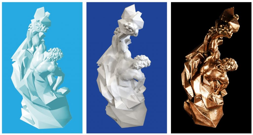 The 3D Printing Industry Awards trophy designed by Morgan Morey. Left t right: 3D draft concept, 3D print in PLA, and 3D print in bronze Filamet by Virtual Foundry.