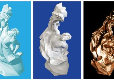 [L-R] 3D design, 3D print in PLA, and 3D print in bronze Filamet of the 3D Printing Industry Awards trophy.