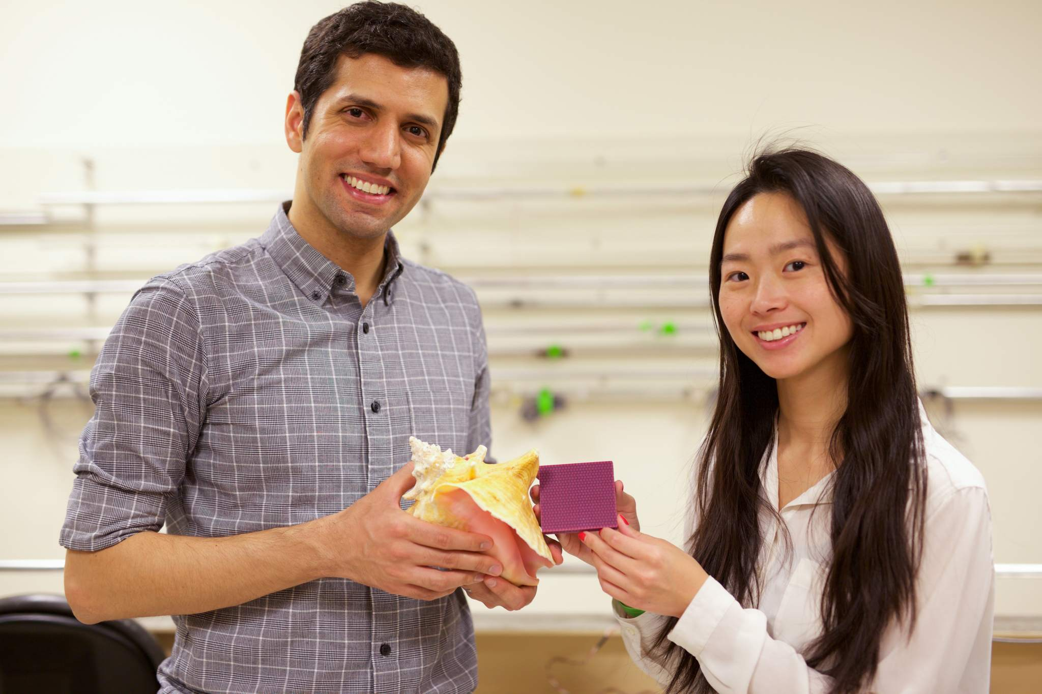 MIT postdoc student Mahdi Takaffoli (left) and graduate student Grace Gu (right) with a conch shell and the 3D printed equivalent. Photo via Melanie Gonick/MIT.