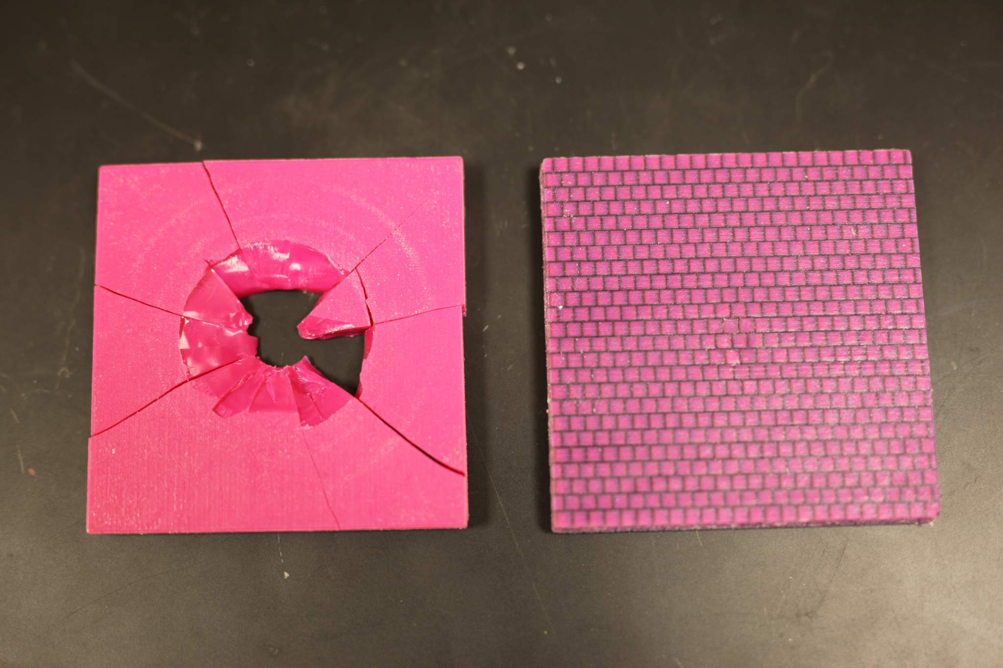 Post-testing of the conch like structure (right) and the basic material configuration (left). Photo via Melanie Gonick/MIT.
