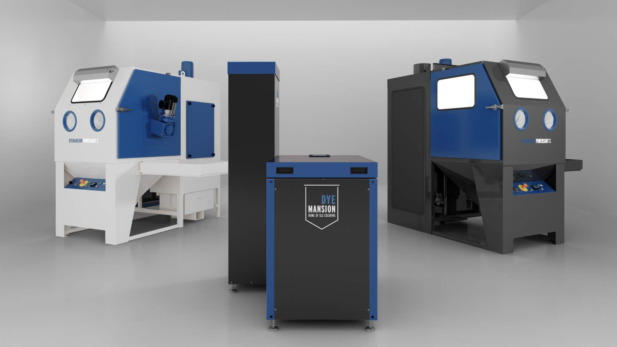 DyeMansion's industrial post-processing systems fo AM: Powershot C for automated depowdering, DM60 coloring system, Powershot S for automated surface finish [L-R]