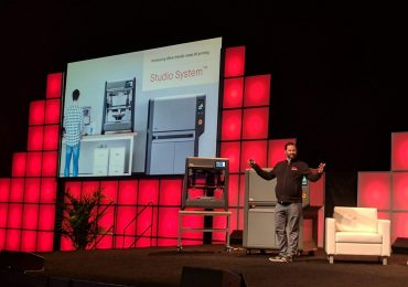Ric Fulop CEO of Desktop Metal presents office-friendly metal printing. Photo by Michael Petch.