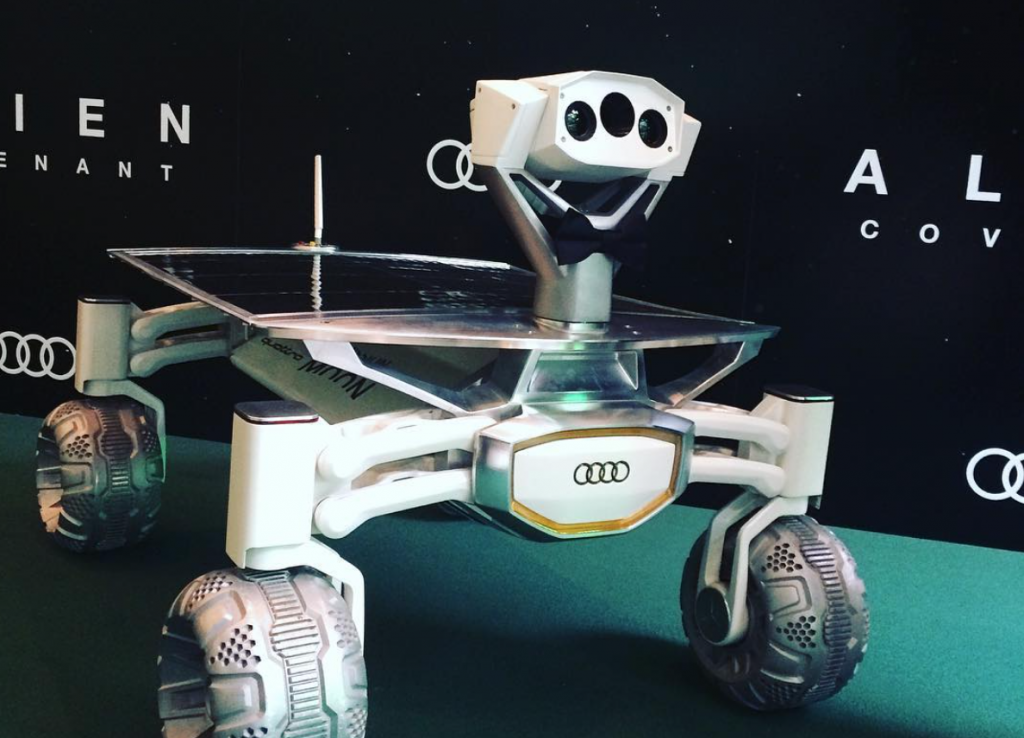 The Audi Lunar Quattro Rover in its black tie on the Alien: Covenant Premier's green carpet. Photo via @PTScientists on Twitter