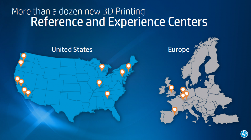 A map of Reference and Experience Centers across North America and Europe. Image via HP Inc.