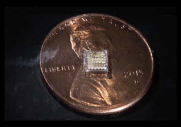 A 3D printed sensor with cent for scale. Screenshot via supplementary materials, McAlpine Research Group