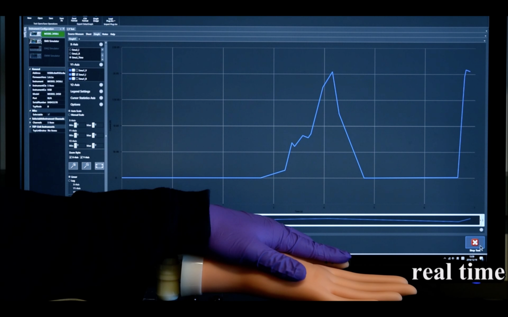Real time data feedback from eh sensor 3D printed on a dummy hand and pressed by another hand. Screenshot via supplementary materials S6, McAlpine Research Group