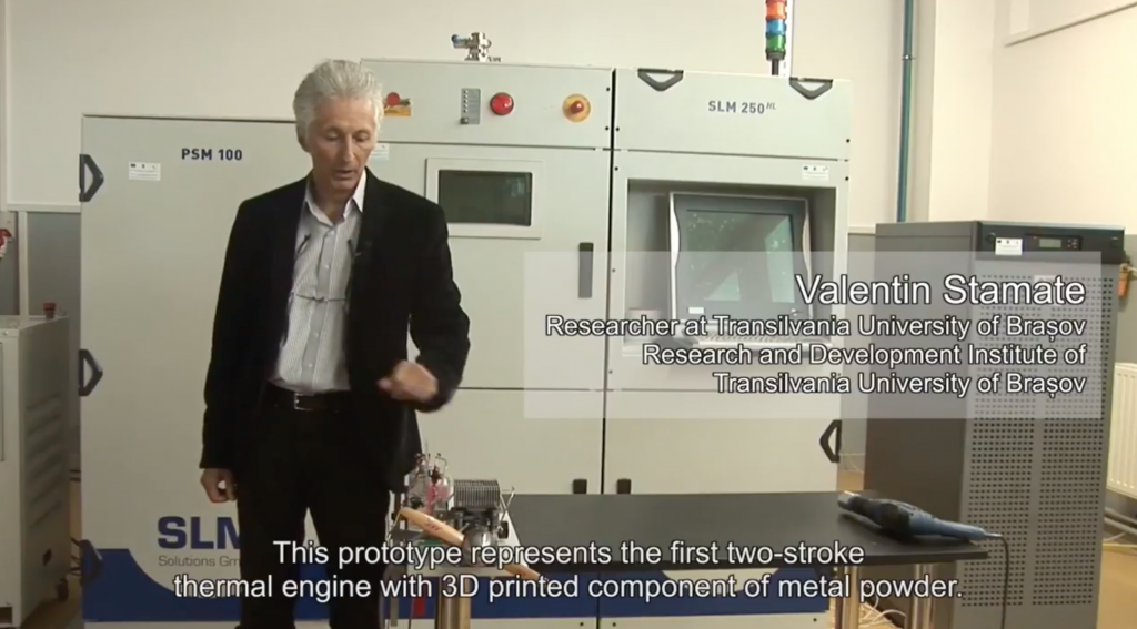 Valentin Stamate gives a walkthrough of the 3D printed engine parts. Screenshot via Universitatea Transilvania din Brasov on YouTube