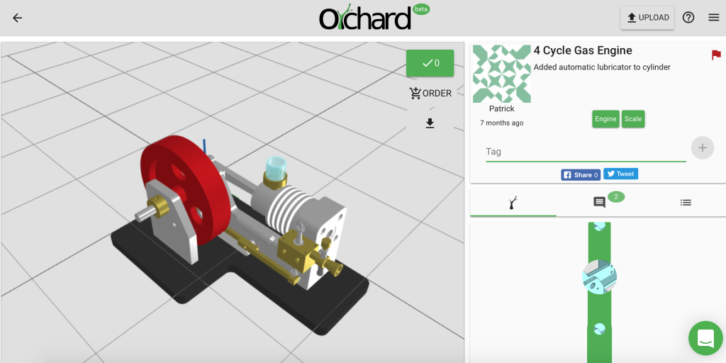 3D model of a 4 Cycle Gas Engine in 3D Orchard with interactive design tree (bottom right). Image via 3dorchard.com