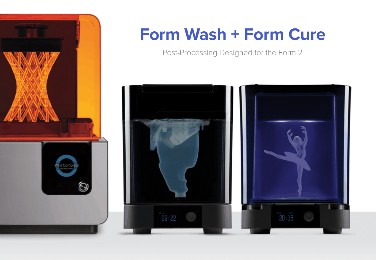 The two new post processing machines next to the Form 2 3D printer. Image via Formlabs.