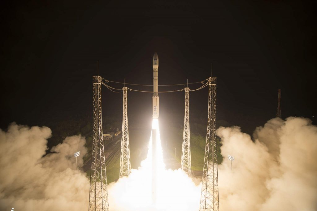 Liftoff of Sentinel-2B on a Vega launcher from Europe's Spaceport in French Guiana