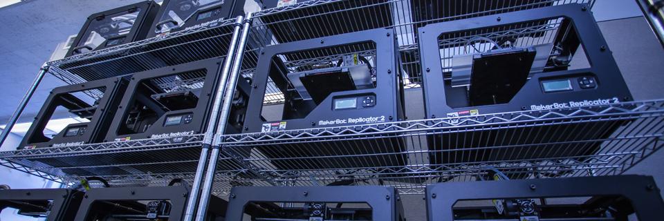 A Replicator 2 Farm at the MakerBot Innovation Center in SUNY New Paltz's Hudson Valley Advanced Manufacturing Center (HVAMC) Photo via newpaltz.edu