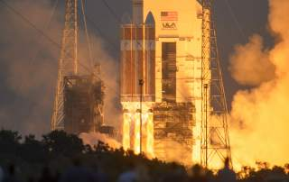 The United Launch Alliance Delta IV Heavy rocket with NASA's Orion spacecraft mounted atop, lifts off from Cape Canaveral Air Force Station's Space Launch Complex 37 at at 7:05 a.m. EST, Friday, Dec. 5, 2014, in Florida. The Orion spacecraft will orbit Earth twice, reaching an altitude of approximately 3,600 miles above Earth before landing in the Pacific Ocean. No one is aboard Orion for this flight test, but the spacecraft is designed to allow us to journey to destinations never before visited by humans, including an asteroid and Mars. Photo credit: (NASA/Bill Ingalls)