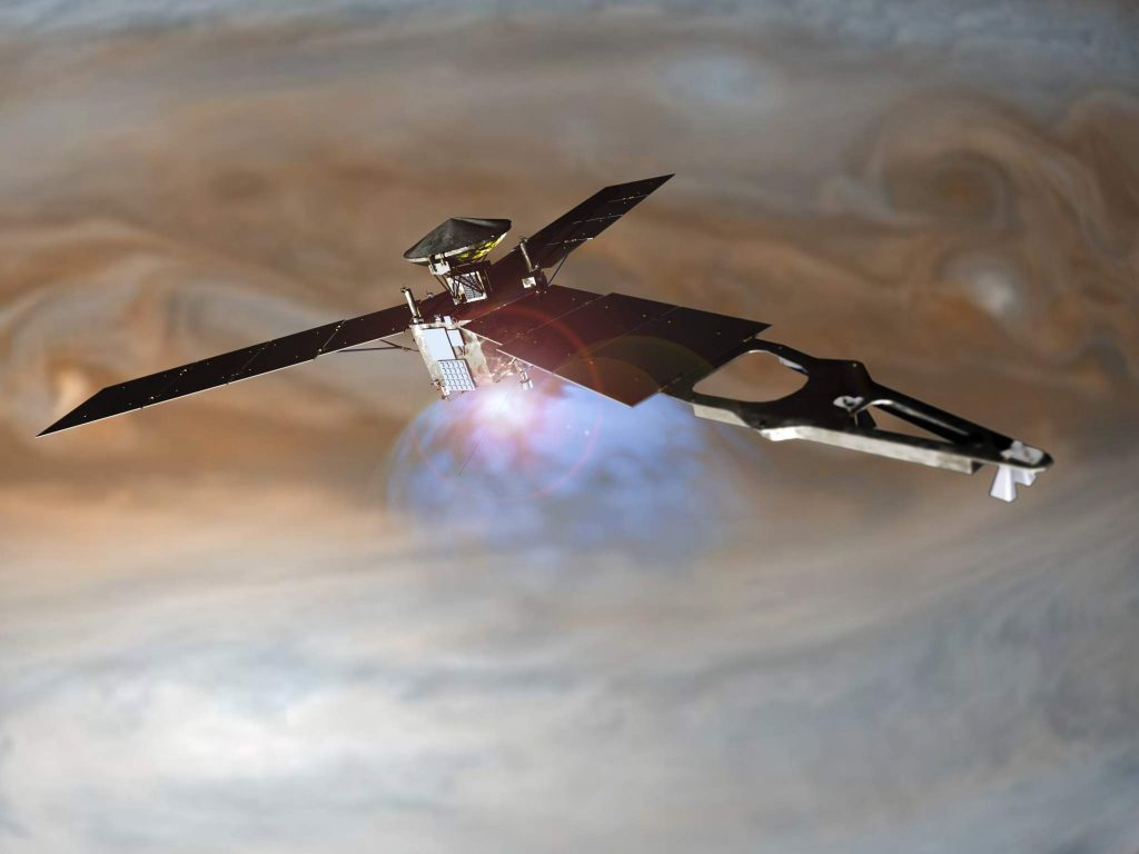Illustration of NASA's Juno spacecraft firing its main engine to slow down and go into orbit around Jupiter. Lockheed Martin built the Juno spacecraft for NASA's Jet Propulsion Laboratory.