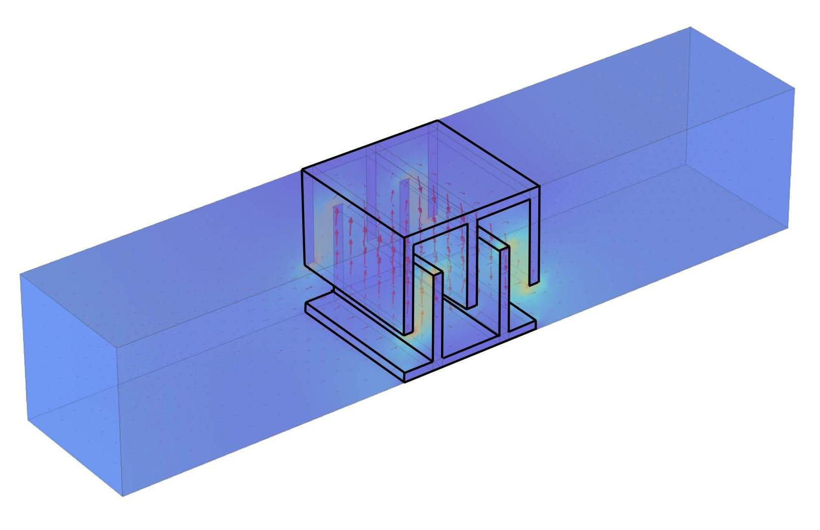 Diagram showcasing the strong flow of electromagnetic waves in the 3D object. Image via Duke University.