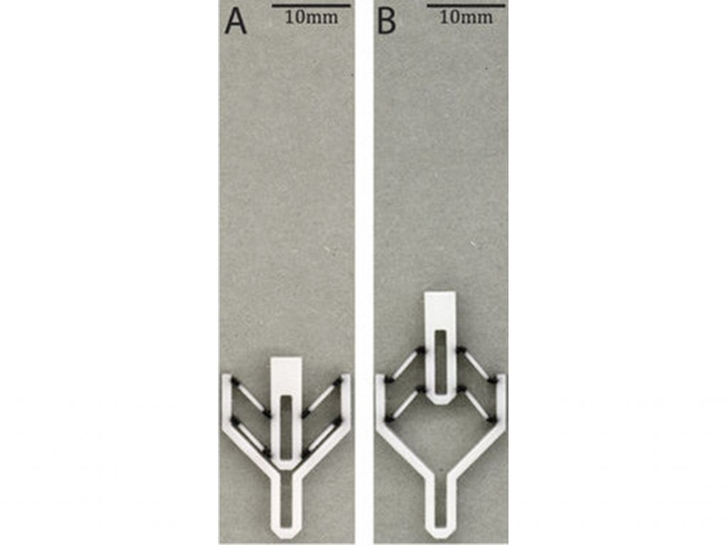 The two positions of a 3D printed Von Mises Truss actuator as used in the ETH Zurich study. Shows the actuator open (right) and closed (left). Figure via Chen, Mueller & Shea