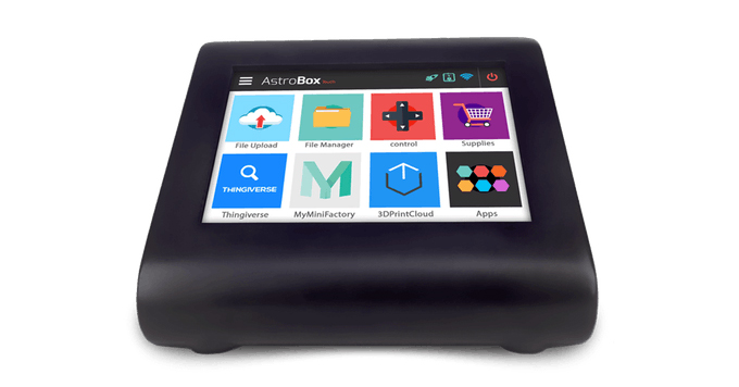 The AstroBox Touch panel. Photo via AstroPrint on Kickstarter