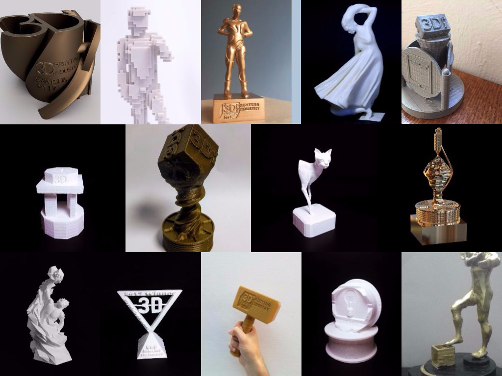 Some of the entries for the competition to design the 3D Printing Industry Awards trophy.