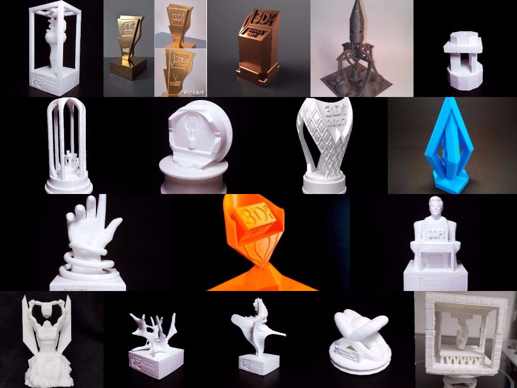 More entries for the competition to design the 3D Printing Industry Awards trophy.