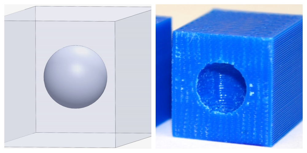 Secure CAD file and its 3D printed equivalent (with incorrect slicing) Images by Nikhil Gupta, Ph.D.