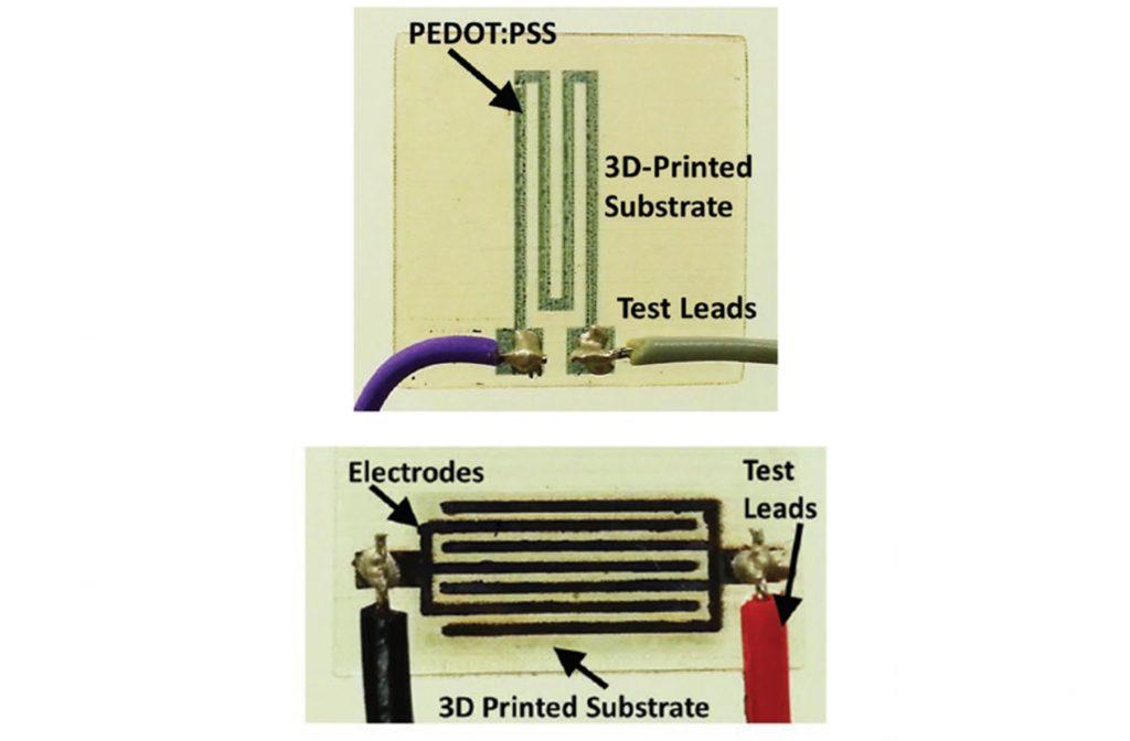 Inkjetted temperature (top) and gas (bottom) sensors on 3D printed substrates. Image via Farooqui, Karimi, Salama & Shamim