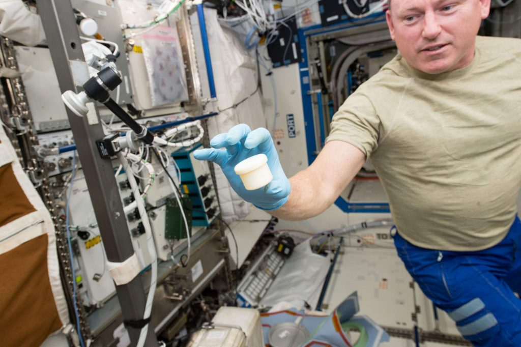 A two-part sample tub 3D printed on the International Space Station (ISS). Photo via NASA