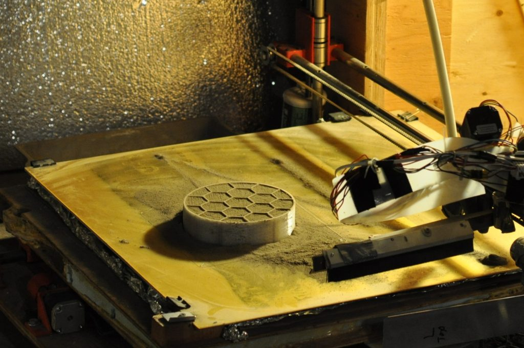A compressive cylinder 3D printed for Phase 2 Level 1 at the University of Alaska Fairbanks. Photo courtesy of UAF