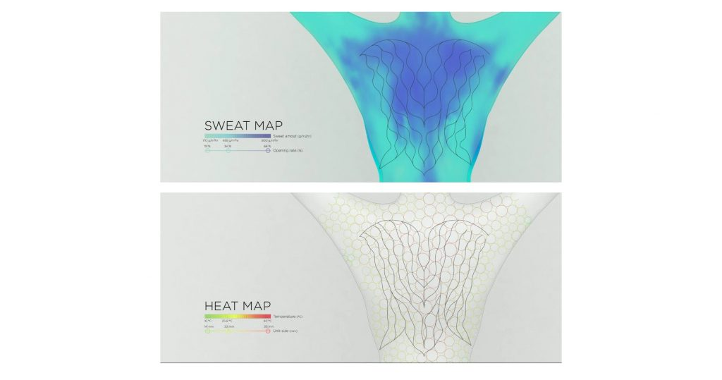Sweat and heat mapping of the body when the self cooling running suit is warn. Images via Science Advances (Supplementary Materials)