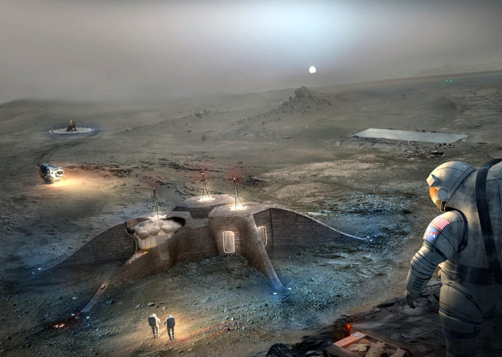 "Foster + Partners 2 prize-winning design for a 3D printed habitat on Mars in Phase 1 of the Centennial Challenge. Image via ""Team GAMMA"" Foster + Partners/Astrobotic"