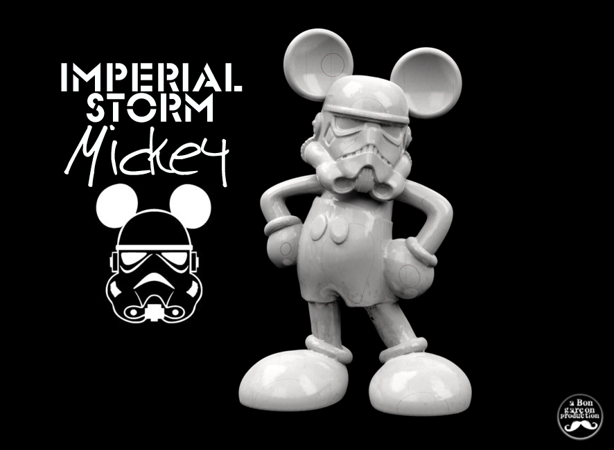 The 'Imperial Storm Mickey' which mashes a Mickey Mouse model with a Stormtrooper. Image via Myminifactory user Bon Garçon.