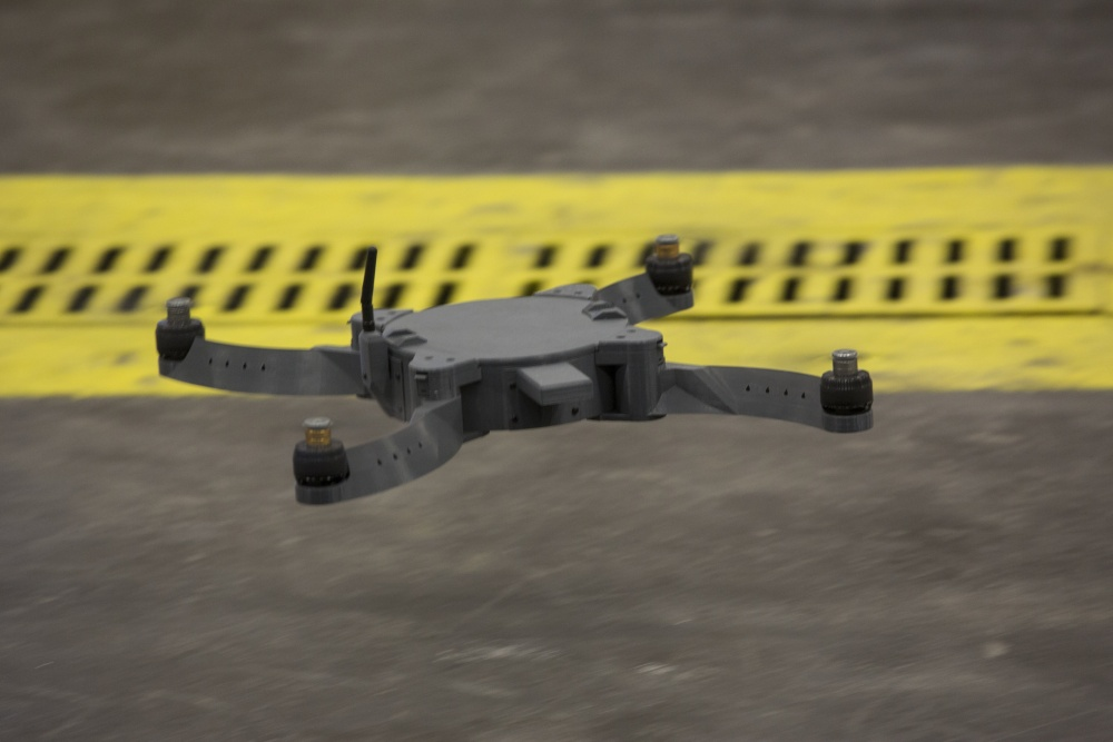 """The Nibbler drone is flown by U.S. Marines and civilian contractors with II Marine Expeditionary Force (II MEF) inside of the 2nd Maintenance Battalion warehouse on Camp Lejeune, N.C., May 18, 2017."" U.S. Marine Corps photo by Lance Cpl. Taylor N. Cooper"