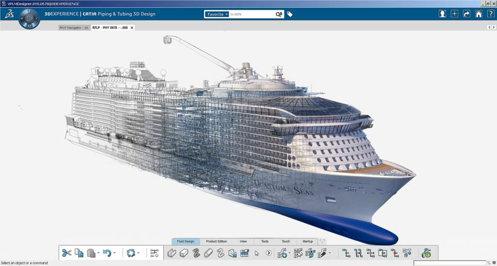 The master 3D model of a Meyer Werft Quantum of the Seas cruise ship in Dassault Systèmes' CATIA 3DEXPERIENCE platform. Image via Meyer Werft