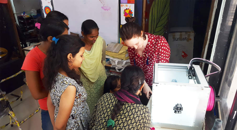 A 3D printing demonstration by PrintLab/Free_3D in India. Photo via PrintLab