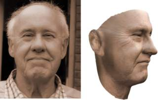 Photograph and accompanying 3D model of a man's face. Image via Imperial College London