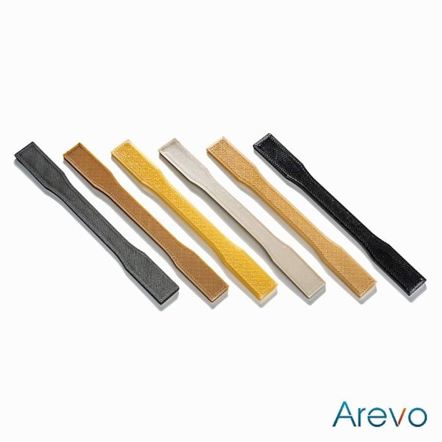 AREVO 3D printed tensile test dog-bones.