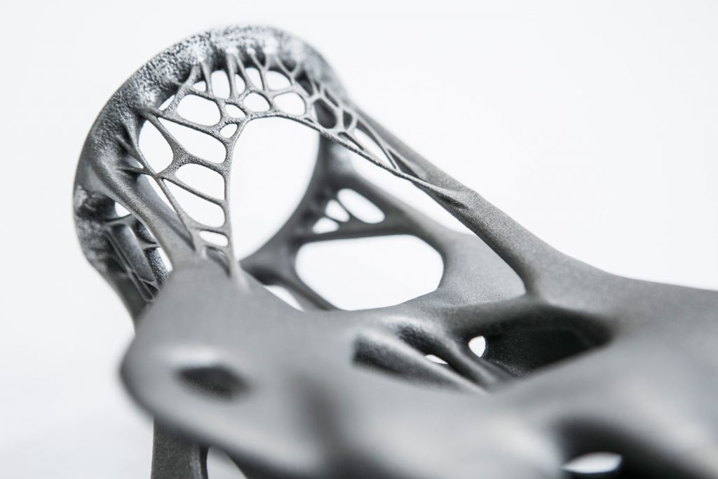 Example of 3D printed metal designed using generative design technology. Image via Autodesk.