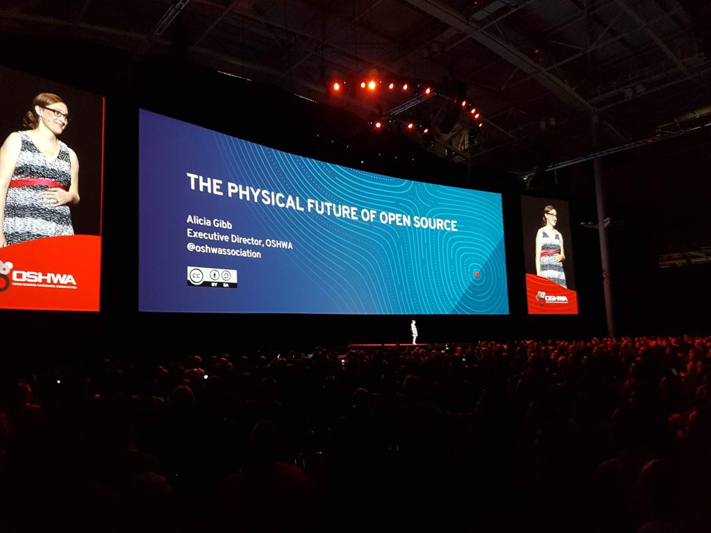 Alicia Gibb giving the keynote address at the 2017 Red Hat Summit. Photo via OSHWA