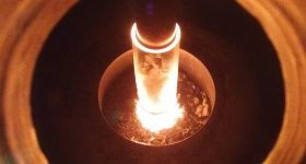 Inside the crucible of PyroGenesis' plasma atomization process for metal powders. Photo via PyroGenesis on Twitter