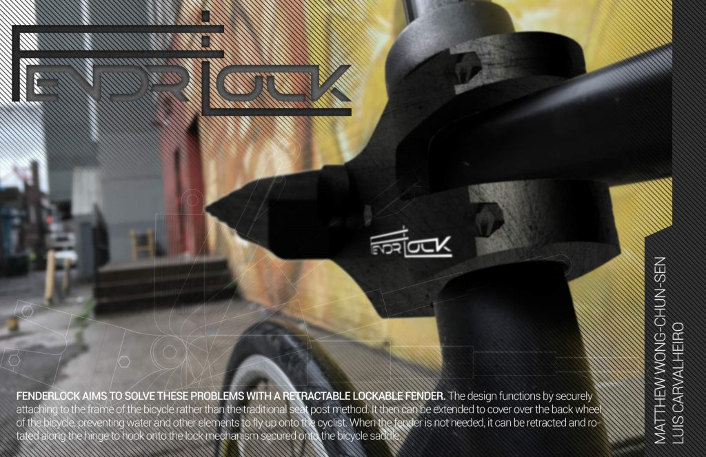 The Fender Lock bike security device by Matthew Wong-Chun-Sen and Luis Carvalheiro. Image via matthew.wong.chun.sen-1 on GrabCAD