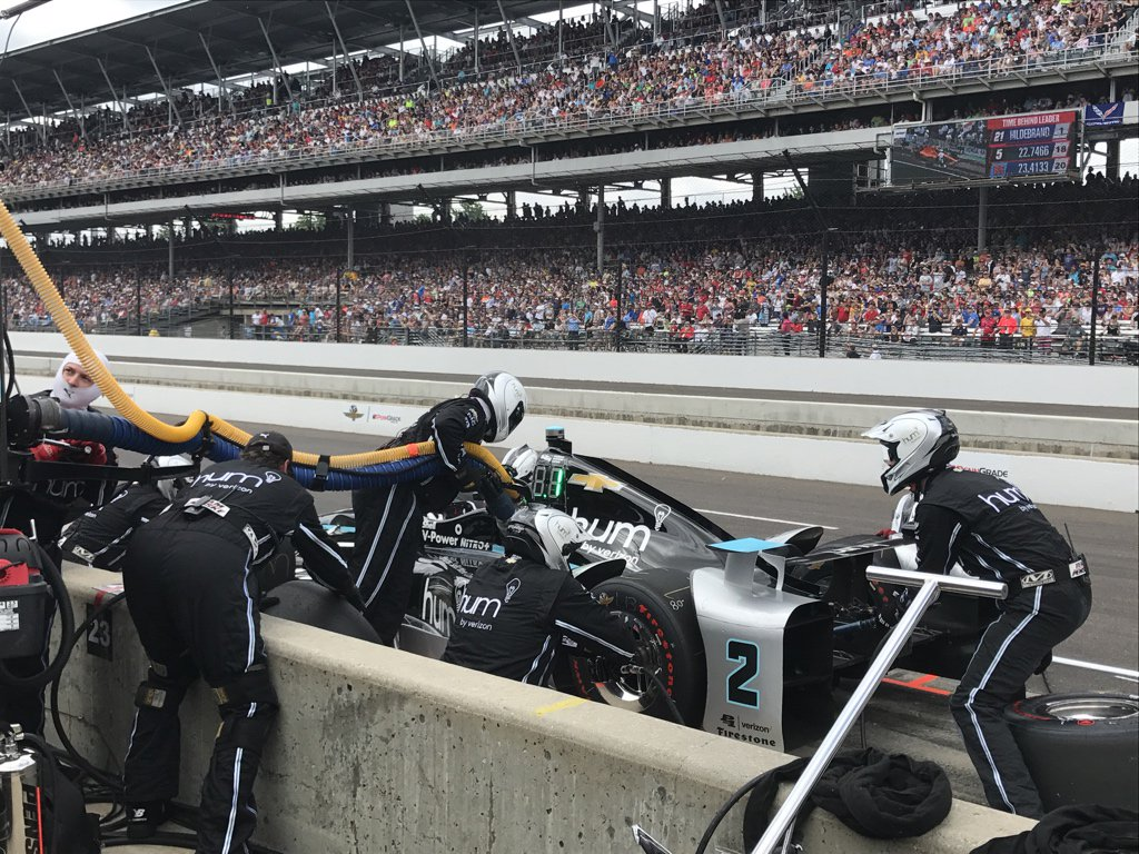 Team Penske's Josef Newgarden in the pit lane during the Indy 500. Photo via Team Penske.