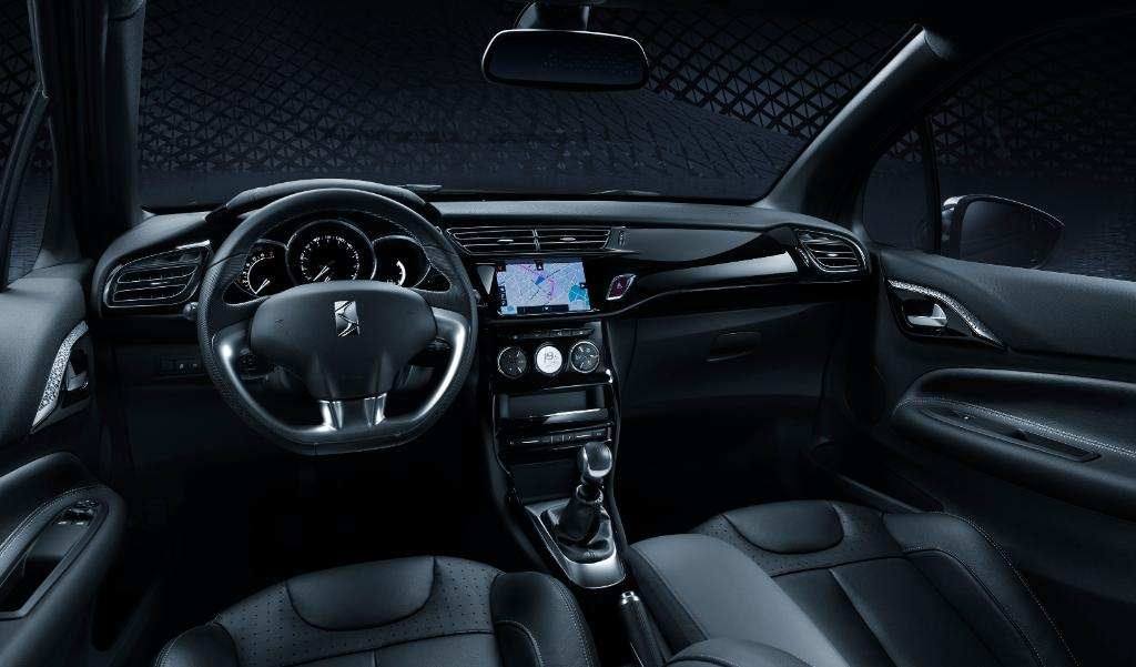 The interior of the DS 3 Dark Side. Image via DS Automobiles.